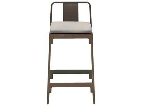 Driade Mingx Steel Cushion High Stool With Back In Bronze