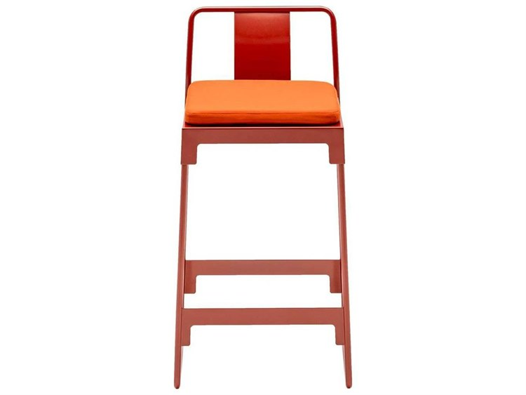 Driade Mingx Steel Cushion Low Stool With Back In Orange