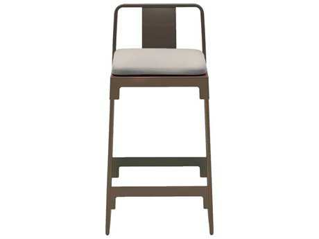 Driade Mingx Steel Cushion Low Stool With Back In Bronze
