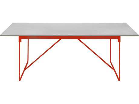 Driade Mingx Steel 62.9''W x 35.4''D Rectangular Imperial Grey Quartzite Top Table In Orange