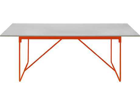 Driade Mingx Steel 86.6''W x 35.4''D Rectangular Imperial Grey Quartzite Top Table In Orange
