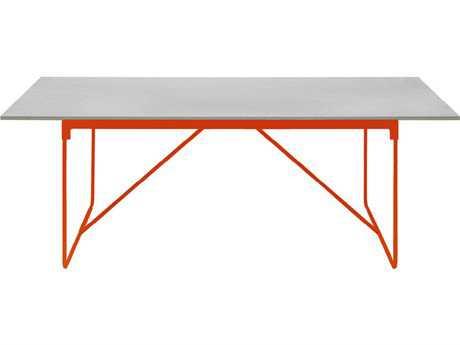 Driade Mingx Steel 86.6''W x 35.4''D Rectangular Imperial Grey Quartzite Top Table In Orange PatioLiving