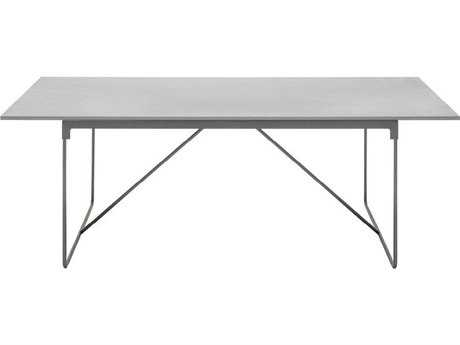 Driade Mingx Steel 86.6''W x 35.4''D Rectangular Imperial Grey Quartzite Top Table In Light Grey PatioLiving