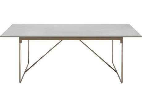 Driade Mingx Steel 86.6''W x 35.4''D Rectangular Imperial Grey Quartzite Top Table In Bronze