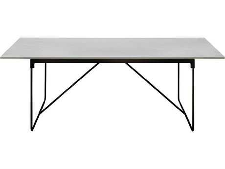 Driade Mingx Steel 86.6''W x 35.4''D Rectangular Imperial Grey Quartzite Top Table In Black PatioLiving