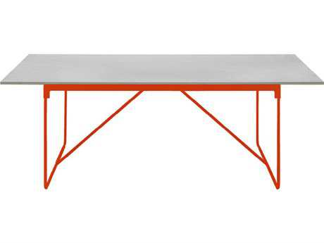 Driade Mingx Steel 102.3''W x 35.4''D Rectangular Imperial Grey Quartzite Top Table In Orange