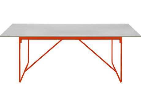 Driade Mingx Steel 102.3''W x 35.4''D Rectangular Imperial Grey Quartzite Top Table In Orange PatioLiving