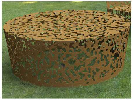 Driade Camouflage Aluminum 47.2'' Wide Round Coffee Table In Russet PatioLiving