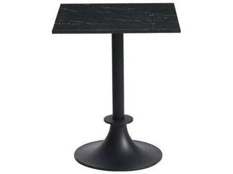 Driade Lord Yi Aluminum 23.6'' Wide Square Marble Top Dining Table in Black Marquina