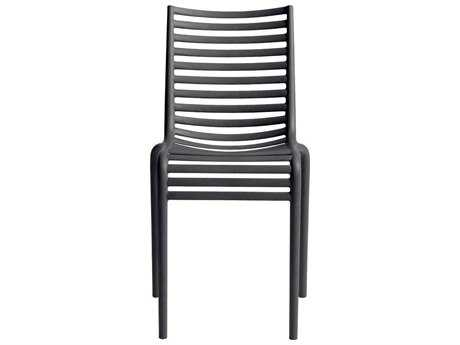 Driade Pip-e Polypropylene Monobloc Stackable Chair in Dark Grey PatioLiving