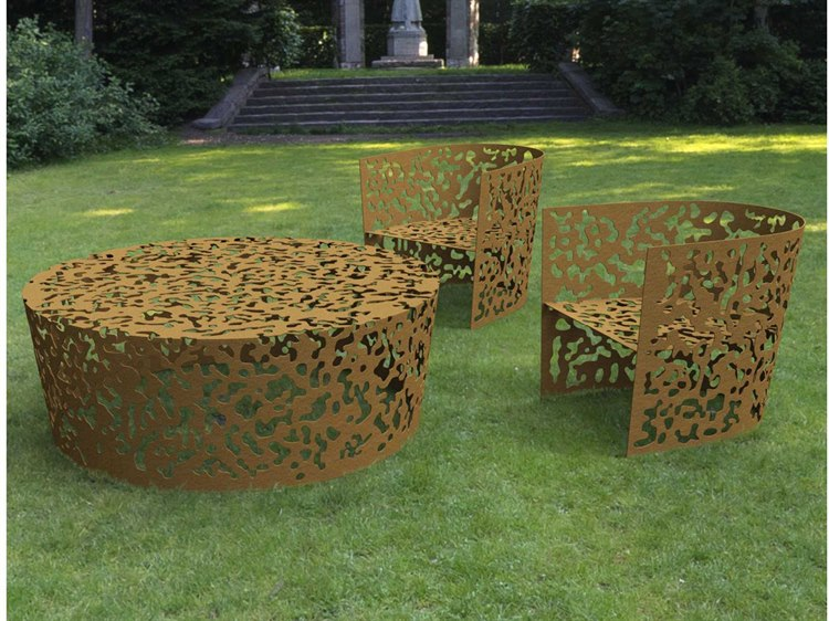 Driade Camouflage Aluminum Lounge Set in Russet
