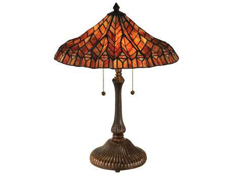 Dale Tiffany Red Lotus Two-Light Table Lamp