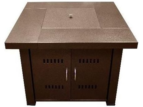 Dayva Outdoor Propane Aluminum 38''Wide Square Fire Pit Table in Antique Hammered Bronze