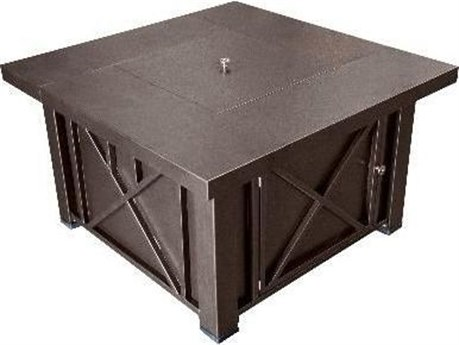 Dayva Decorative Hammered Bronze Aluminum 38''Wide Square Fire Pit Table PatioLiving