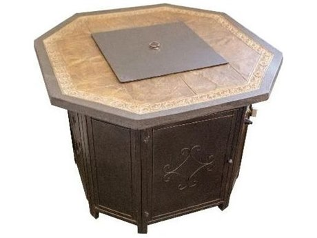 Dayva Outdoor Faux Stone Top Aluminum 35''Wide Octagon Fire Pit Table PatioLiving