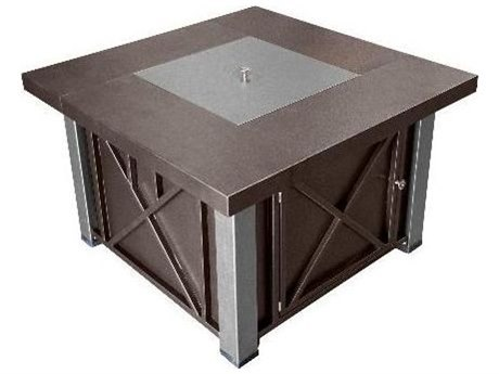 Dayva Decorative Hammered Bronze Aluminum 38''Wide Square Fire Pit Table with Stainless Steel Accents PatioLiving
