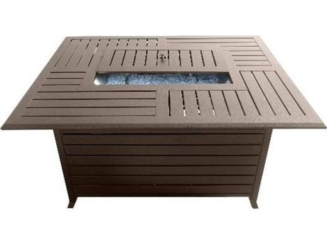 Dayva Extrunded Aluminum 50''W x 36''D Rectangular Fire Pit Table in Hammered Bronze PatioLiving