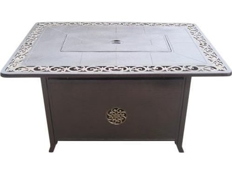 Dayva Hammered Bronze Cast Aluminum 49''W x 37''D Rectangular Fire Pit Table with Scroll Design PatioLiving