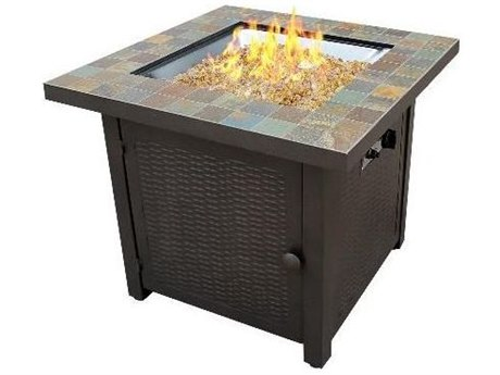 Dayva Slate Tile Top Propane Aluminum 30''Wide Square Fire Pit Table PatioLiving