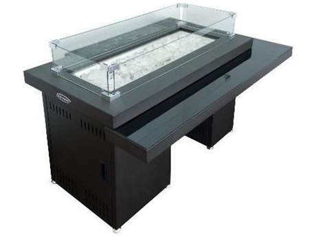 Dayva Two Tiered Glass Top Aluminum 52''W x 37''D Rectangular Fire Pit Table PatioLiving
