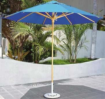 Dayva Laguna Deluxe Wood 9' Octagon Wood 4 Pulley Single Pole Umbrella
