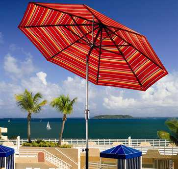 Dayva Aluminum Market Monterey 9 Foot Wide Crank Lift Auto Tilt Patio Umbrella
