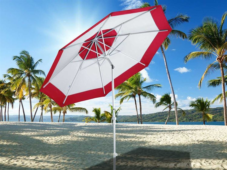 Dayva Aluminum Market Monterey 9 Foot Wide Crank Lift Collar Tilt Patio Umbrella PatioLiving