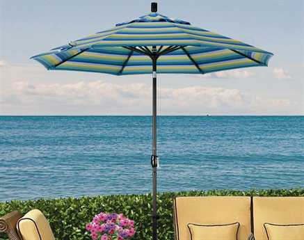 Dayva Monterey Aluminum 9' Octagon Push-Button Tilt Black Frame 2 Piece Pole Umbrella