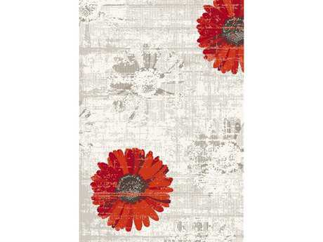 Dynamic Rugs Infinity Rectangular Ivory & Red Area Rug