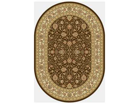 Dynamic Rugs Ancient Garden Oval Chocolate & Ivory Area Rug