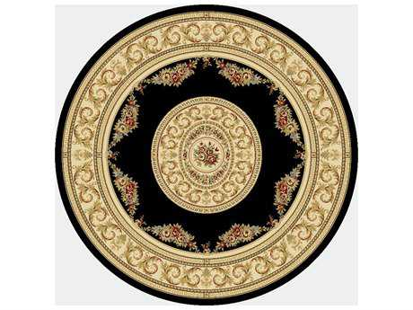 Dynamic Rugs Ancient Garden Round Black & Ivory Area Rug