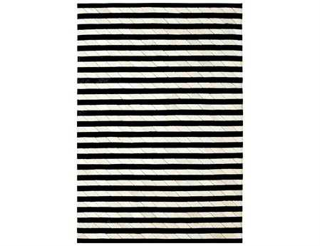 Dynamic Rugs Leather Work Rectangular Ivory & Black Area Rug