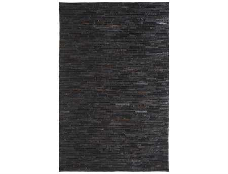 Dynamic Rugs Leather Rectangular Black Area Rug