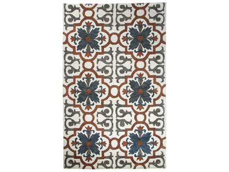 Dynamic Rugs Casual Rectangular Rust & Blue Area Rug