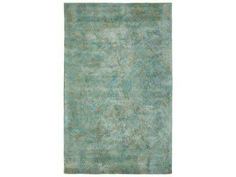 Dynamic Rugs Celeste Rectangular Aqua & Gold Area Rug