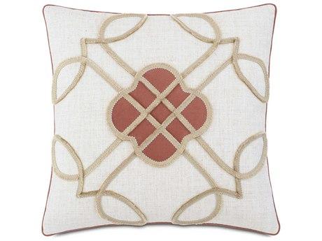 Eastern Accents Rena Ledger White 20'' x 20'' Decorative Pillow with Mini Brush Fringe