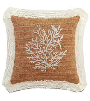 Eastern Accents Caicos Embroidered Coral Pillow