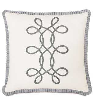 Eastern Accents Edith Baldwin White With Braid & Ribbon Pillow