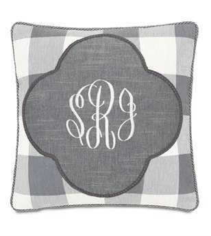 Eastern Accents Hampshire Duvall Slate Monogrammed Insert Pillow