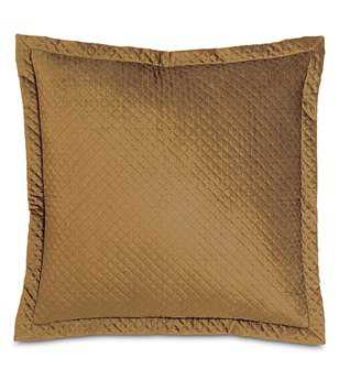 Eastern Accents Lucerne Solid Velvet Reuss Gold With Mitered Flange Euro Sham