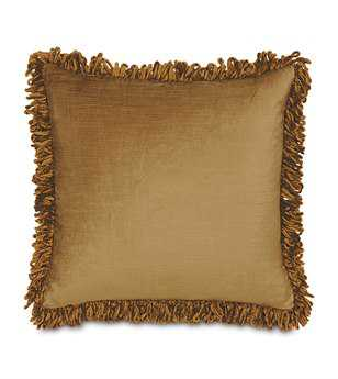 Eastern Accents Lucerne Solid Velvet Lucerne Gold With Loop Fringe Pillow