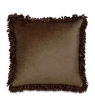 Eastern Accents Lucerne Solid Velvet Lucerne Mocha With Loop Fringe Pillow