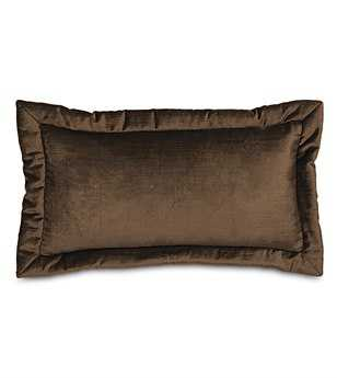 Eastern Accents Lucerne Solid Velvet Lucerne Mocha With Mitered Flange Pillow