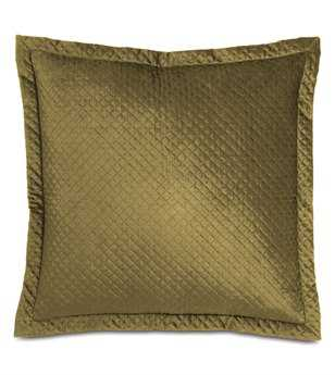 Eastern Accents Lucerne Solid Velvet Reuss Olive With Mitered Flange Euro Sham