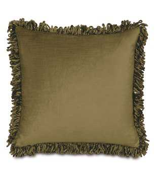 Eastern Accents Lucerne Solid Velvet Lucerne Olive With Loop Fringe Pillow