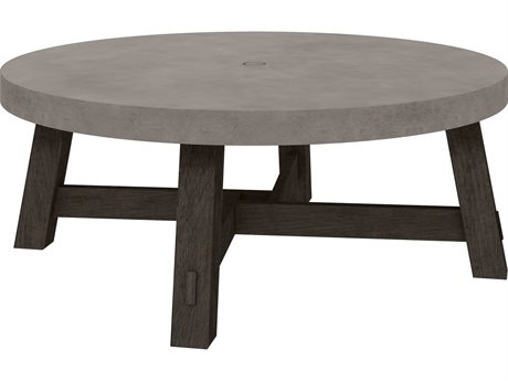 Ebel Amherst Aluminum 50''Wide Round Chat Table with Umbrella Hole PatioLiving