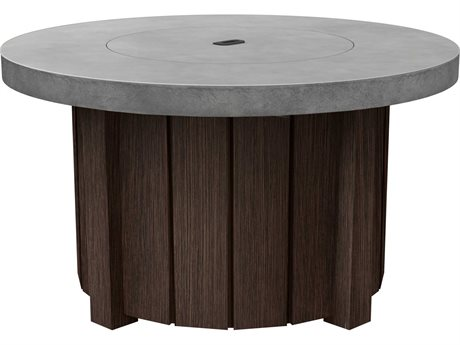 Ebel Taos Aluminum 42''Wide Round Concrete Top Fire Pit Table with Lid PatioLiving