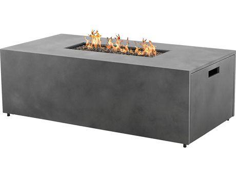 Antibes Bellino Aluminum 60''W x 30''D Rectangular Fire Pit Table with Lid