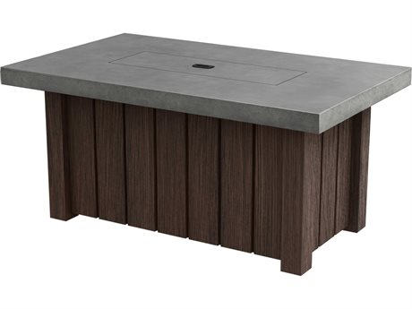 Ebel Taos Aluminum 50''W x 30''D Rectangular Concrete Top Fire Pit Table with Lid PatioLiving