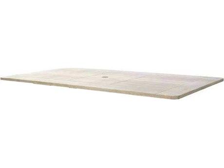Ebel Portofino Aluminum 82''W x 42''D Rectangular Dining Table Top With Umbrella Hole